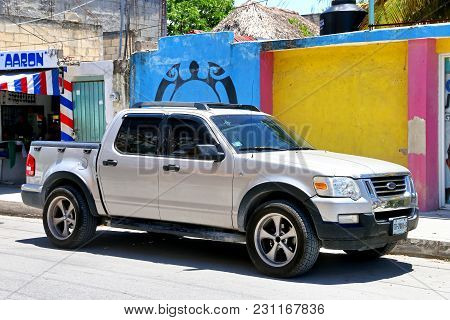 Tulum, Mexico - May 17, 2017: Pickup Truck Ford Lobo In The Town Street.