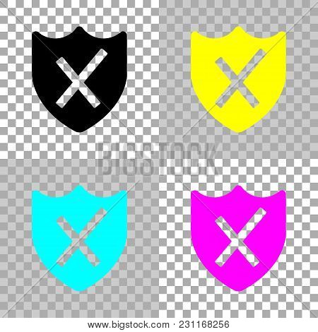 Protection Broken. Simple Icon. Colored Set Of Cmyk Icons On Transparent Background
