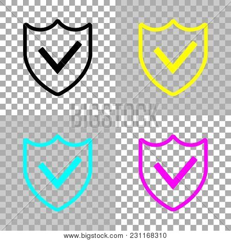 Protection Success. Simple Icon. Colored Set Of Cmyk Icons On Transparent Background