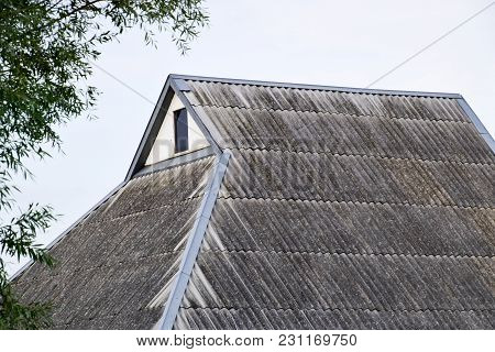 Roof From The Old Slate. Roof Of The House. Corrugated Slate.