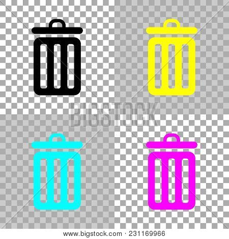 Trash Bin. Simple Icon. Colored Set Of Cmyk Icons On Transparent Background