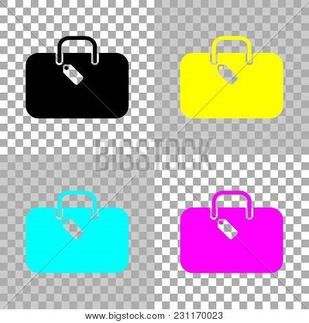 Traveling Bag, Luggage, Case. Colored Set Of Cmyk Icons On Transparent Background