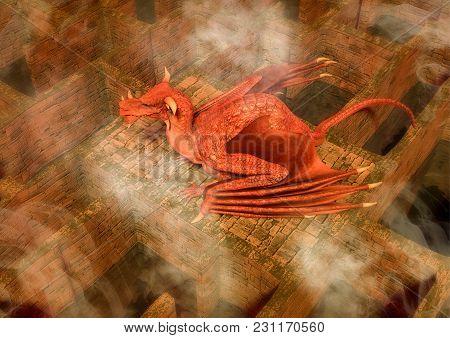 Fantasy Red Dragon Sleeping In A Maze. 3d Illustration.