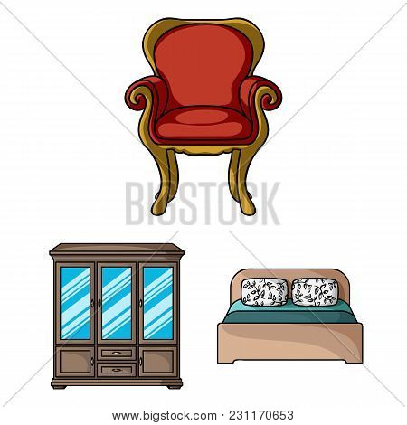 Furniture And Interior Cartoon Icons In Set Collection For Design.home Furniture Vector Symbol Stock