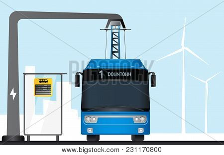 Blue Electric Bus Is Charged By Pantograph. On A Bus Stop Electronic Schedule. Vector Illustration E