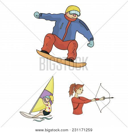 Different Kinds Of Sports Cartoon Icons In Set Collection For Design. Athlete, Competitions Vector S