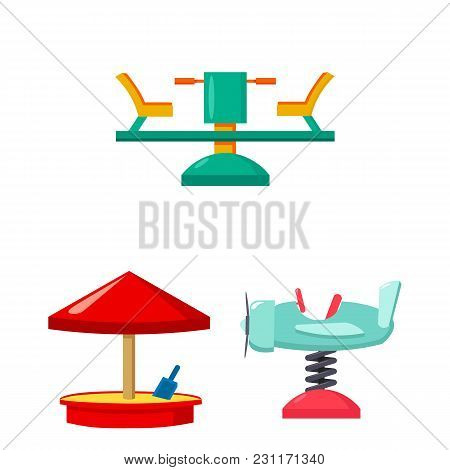 Playground, Entertainment Cartoon Icons In Set Collection For Design. Attraction And Equipment Vecto