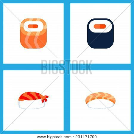 Icon Flat Sushi Set Of Maki, Sushi, Salmon Rolls And Other Vector Objects. Also Includes Sushi, Seaf