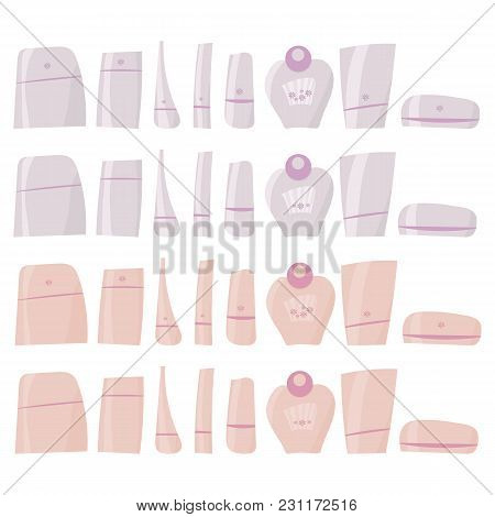 Pink And White Hand-drawn Vecttor Brilliant Plastic Tubes With Cosmetics And Perfume Clipart Isolate