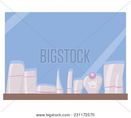 Light Pink Vector Hand-drawn Tubes And Jars With Cosmetics On A Blue Background And A Bathroom Mirro
