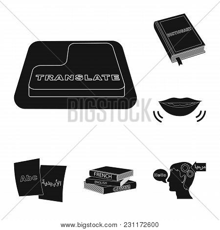 Translator And Linguist Black Icons In Set Collection For Design. Interpreter Vector Symbol Stock  I