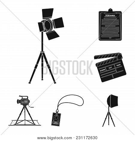 Making A Movie Black Icons In Set Collection For Design. Attributes And Equipment Vector Symbol Stoc