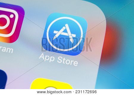 Sankt-petersburg, Russia, March 14, 2018: Apple Store Application Icon On Apple Iphone X Smartphone