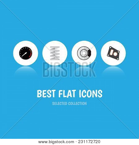 Icon Flat Component Set Of Speedometer, Brake Disk, Car Spring And Other Vector Objects. Also Includ