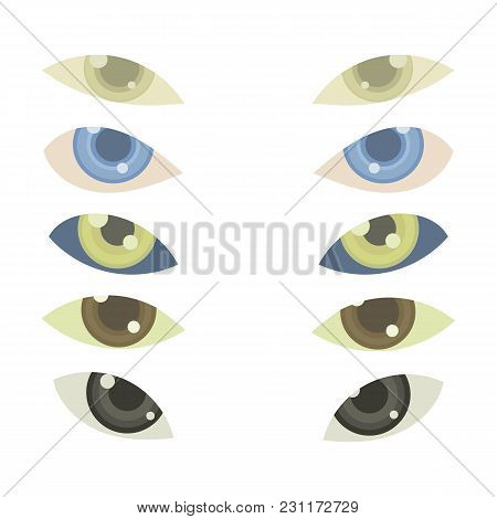 5 Vector Pairs Of Eyes With Multicolored Irises Or Lenses And Glitter Isolated On White Background