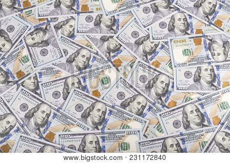 United States Dollars Currency Background, Many New One Hundred Usa Money Banknotes