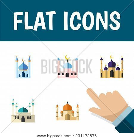 Icon Flat Mosque Set Of Building, Islam, Traditional And Other Vector Objects. Also Includes Mosque,