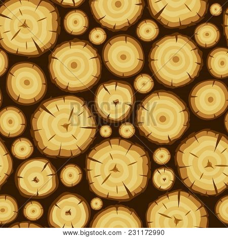 Seamless Pattern With Wood Stumps. Background For Forestry And Lumber Industry.