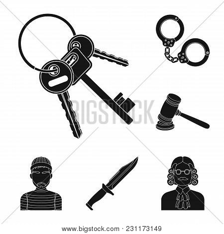 Prison And The Criminalblack Icons In Set Collection For Design.prison And Attributes Vector Symbol