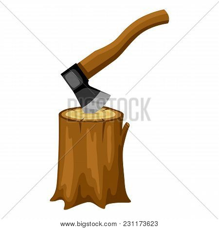 Axe And Wood Stump. Illustration For Forestry And Lumber Industry.