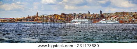 Istanbul, Turkey - March 27, 2012: View Of City Across The Bosphorus.