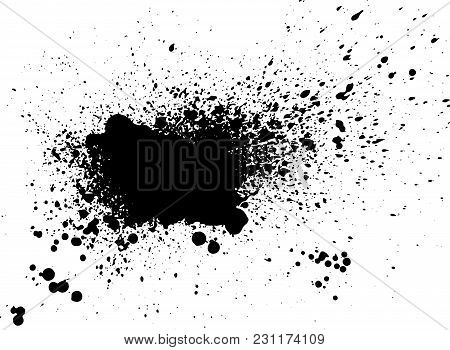 Black Paint, Ink Splash, Brushes Ink Droplets, Blots. Black Ink Splatter Grunge  Background, Isolate