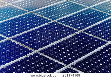 Solar Panel Surface, Power Industry And Technology Background, Sun Energy And Renewable Green Power
