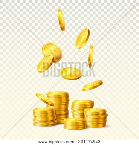 Realistic Golden Coins Falling, Stacks Or Towers Of Dollar Metal Currency, Round Golden Bucks On Tra