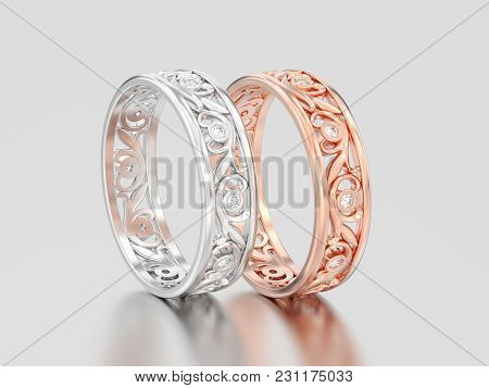 3d Illustration Two Rose And White Gold Or Silver Matching Couples Wedding Diamond Rings Bands On A