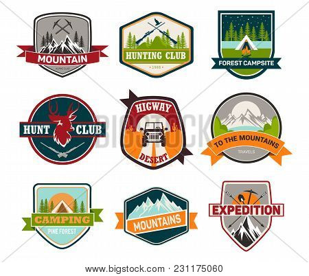 Set Of Isolated Badges With Mountain And Guns, Cap And Car, Deer For Expedition And Climbing, Huntin
