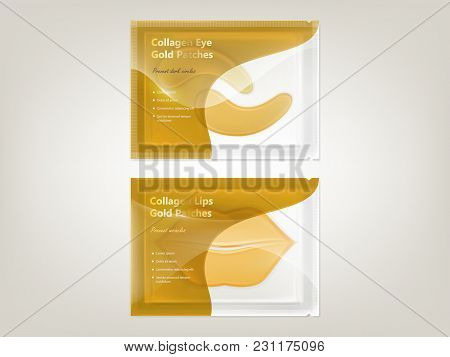 Vector Realistic Set Of Patches For Lips And Eyes With Gold And Collagen, In Disposable Sachet Isola
