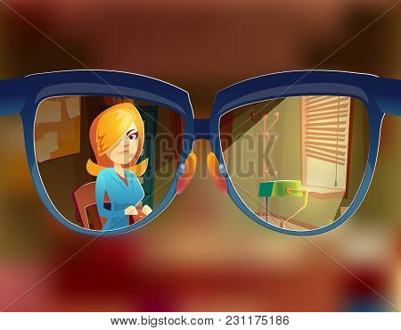 Vector View From The Glasses At Woman Customer. Myopia, Short-sightedness Concept. Sight At Client I