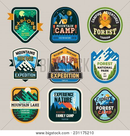 Isolated Signs Or Badges, Logo For Mountain Climbing Or Hiking And Forest Camp At National Park, Lak