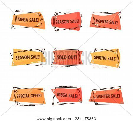 Seasonal Clearance Sale Tags. Geometric Or Linear Labels For Discounts At Spring Or Winter. Retail P