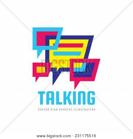 Talking - Speech Bubbles Vector Logo Concept Illustration In Flat Style. Dialogue Icon. Chat Sign. S