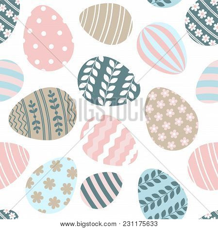 Happy Easter Seamless Pattern Greeting Card With Decorated Painted Easter Eggs. Vector Illustration