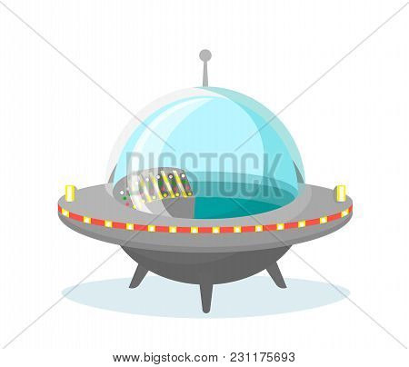 Vector Illustration Of Ufo Spaceship Icon On White Background In Flat Design