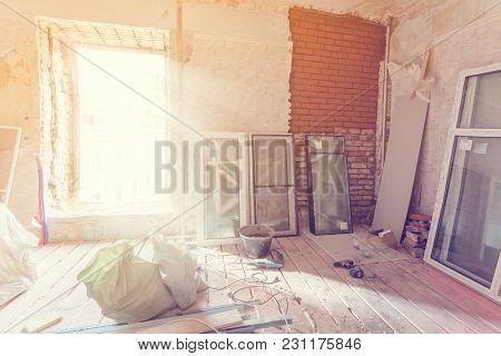 Working Process Of Installing Pvc Windows In Room Of Apartment Is Under Construction, Remodeling, Re