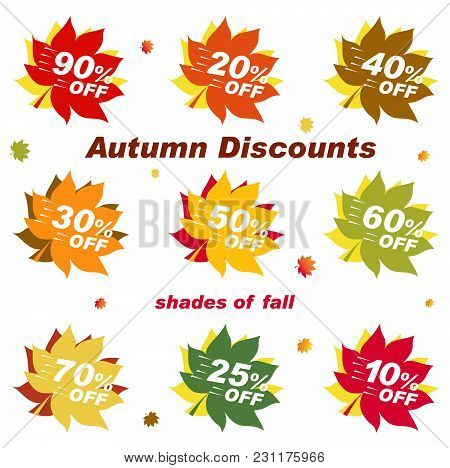 Autumn Discount Template Elements Banner. Set Numbers For Sale. Bright Banner For Autumn Sale. Disco