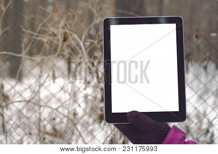 Tablet Computer With Blank Isolated Screen In Female Hands On Protective Grid Fence Background Of Re