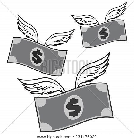 Black And White Flying Money - A Vector Cartoon Illustration Of A Flying Money Concept.