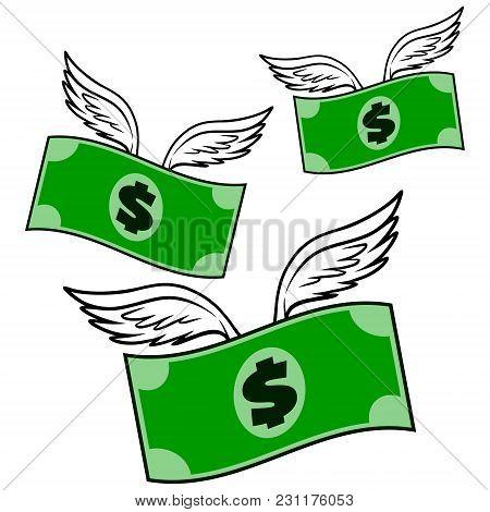 Flying Money - A Vector Cartoon Illustration Of A Flying Money Concept.