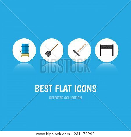Icon Flat Garden Set Of Brazier, Water Tank, Spade And Other  Objects. Also Includes Tool, Brazier,