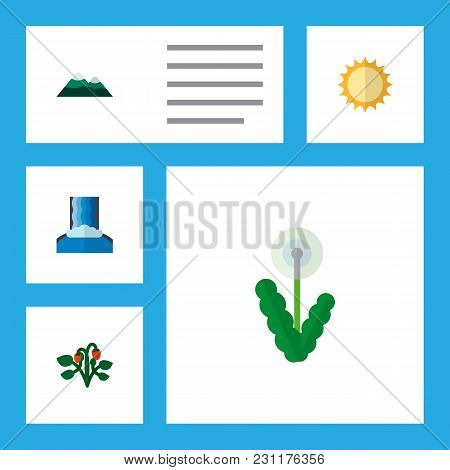 Icon Flat Bio Set Of Dandelion, Sun, Mountain  Objects. Also Includes Sunshine, Pinnacle, Cascade El