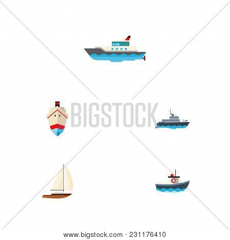 Icon Flat Ship Set Of Shipping, Vessel, Sailboat And Other  Objects. Also Includes Ship, Vessel, Yac