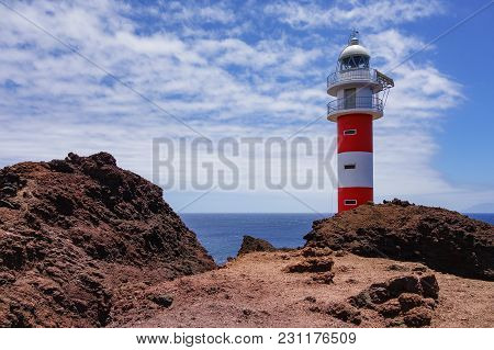 Lighthouse Faro De Teno On The Canary Island Tenerife.