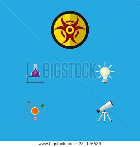 Icon Flat Knowledge Set Of Telescope, Solar System, Biohazard And Other  Objects. Also Includes Sola