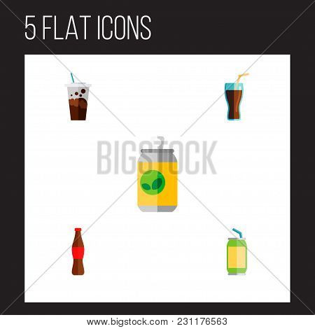 Icon Flat Soda Set Of Drink, Beverage, Soda And Other  Objects. Also Includes Drink, Beverage, Fizzy