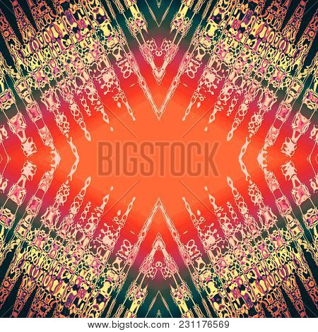Kaleidoscope Pattern With Gold Stains, Streaks, Strokes On Red, Orange, Black Rhombus. Abstract Back