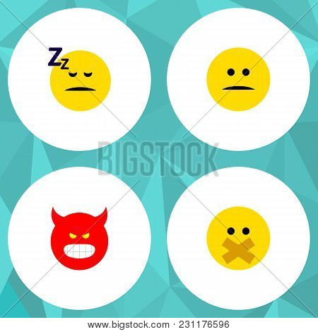 Icon Flat Face Set Of Silent, Sleeping, Angry And Other  Objects. Also Includes Face, Smile, Silent